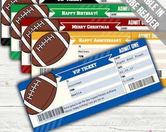 Surprise Football Game Tickets (Surprise Someone With Football Tickets). Five Colors. Editable. Instant Download.