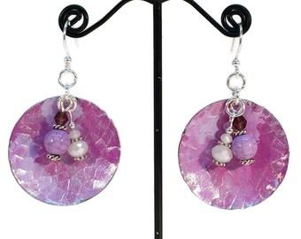 Purple Earrings, Boho Earrings, Violet, Lilac, Silver Earrings, Round Earrings, Dangle Earrings, Handmade, One of a kind, Hypoallergenic