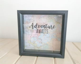 Adventure Awaits Ticket Travel Shadow Box FREE SHIPPING