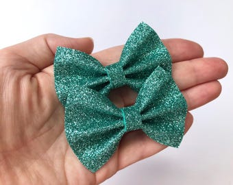 Teal Blue Glitter Felt Pigtail Hair Bow Set // Spring Easter Piggie Bows Hair Clips // Pigtail Bows Mini Bows Baby Toddler Bow