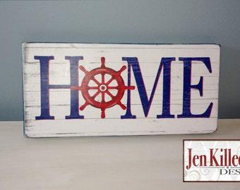 """Home- """"HOME"""", Ship Wheel, Nautical wood sign"""