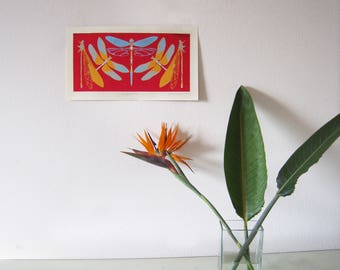 Red, Blue, Yellow-Orange Dragonfly 15x8.5 in Silkscreen Print