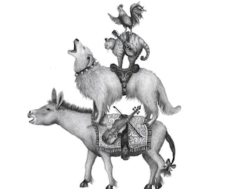 8x10 Giclee Print of Bremen Town Musicians from Brothers Grimm