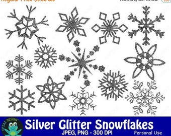 75% OFF SALE Glitter Snowflake Clipart, Silver Glitter Snowflakes, Commercial Use, Silver Snowflakes - UZ858