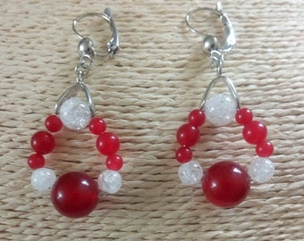 Earrings Creole gems stones Malaysia Jade red and white Crackle quartz