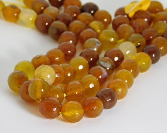 Carnelian natural faceted round beads - 10mm - STK-49-CRNB-03