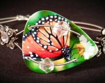 "Guitar pick and guitar string bracelet ""Monarch Butterfly"""