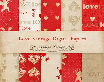SAVE 50% - Love Digital Papers -  for Photographers, Scrapbooking and Card Making - ID067, Instant Download