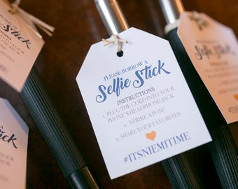 Selfie Stick Tags - Instant Download - Add your own Hashtag