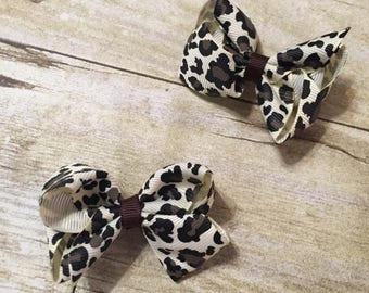 Set of Leopard/Cheetah Print Hair Bows on Clips 2 1/2""