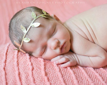 Baby Girl Headband, Gold Headband, Flower Girl Headband, Newborn Headband, Baby Crown, Newborn Girl, Baby Halo, Baby Headband, Boho Baby