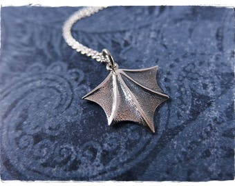 Silver Bat Wing Necklace - Sterling Silver Bat Wing Charm on a Sterling Silver Cable Chain or Charm Only