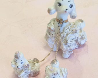 Rare 50s French Poodles White With Pink Flower Berets With Gold Leash Mother Poodle With Two Small Pups Attached 885 Numbered