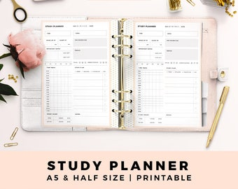 A5 HALF Size Study Planner, Student Planner, Personal Printable Planner Inserts