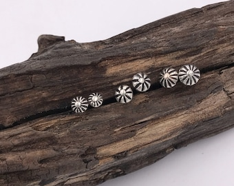 MTO Hand Stamped Flower Concho Stud Earrings