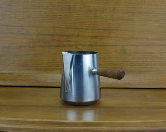 Danish Style Stainless Steel Creamer, Made in Italy, Teak Handle