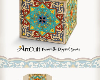 Printable digital MOROCCAN BOHO Style Gift BOX layout, do it yourself wedding favor box collage sheet, instant download. ArtCult designs