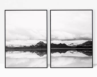 Reflection mountain print, mountains print, ocean wall art, black and white photography, landscape print, minimalist landscape, nature decor