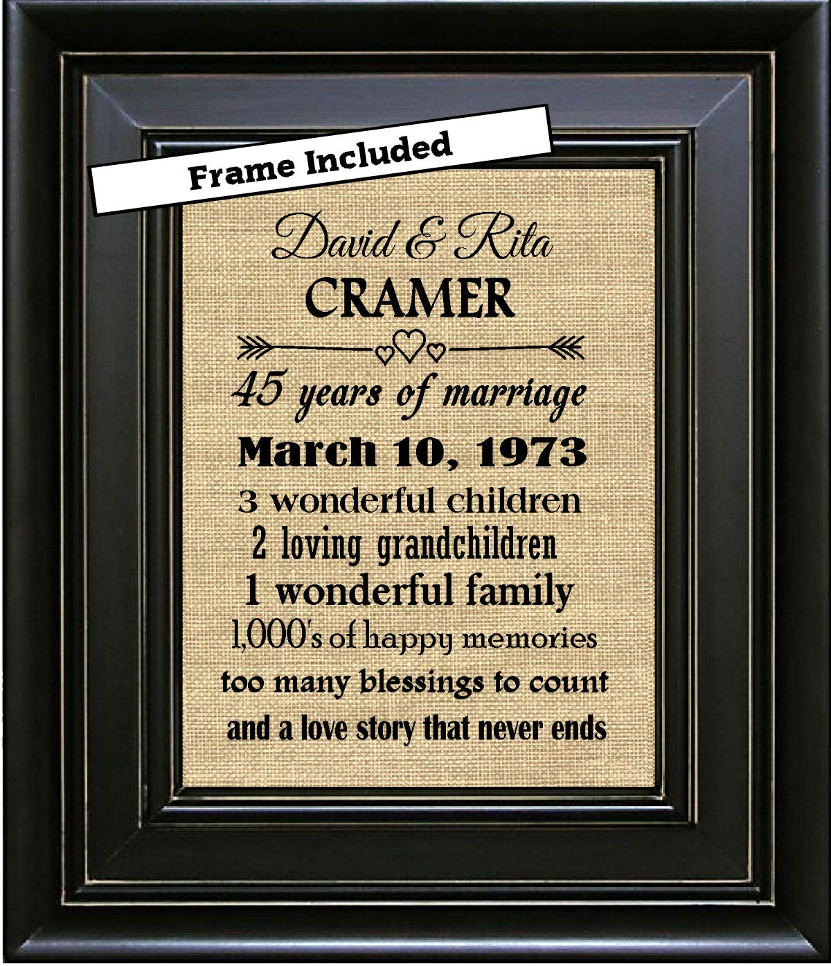 45 Wedding Anniversary Gift For Parents: FRAMED 45th Wedding Anniversary/45th Anniversary Gifts/45th