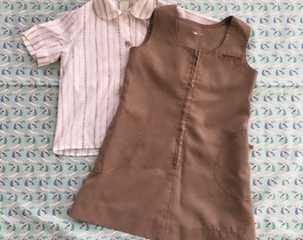 Vintage Brownie Uniform | 1970s Girl Scout Uniform | Girl Scouts Blouse & Dress | As Is