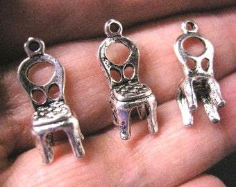 12pc antique silver finish metal chair pendant-5563