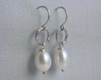 Pearl Drop Earrings - White Pearl Earrings, Pearl Dangle Earrings, Pearl Jewelry, Real Pearl Earrings, Hammered Sterling Silver Earrings