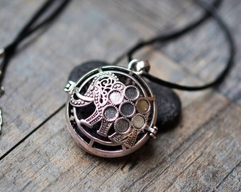 Lava Stone Essential Oil Diffuser Leather or Ball Chain Necklace/Exquisite Elephant/Aromatherapy /With Essential Oil (2ML)