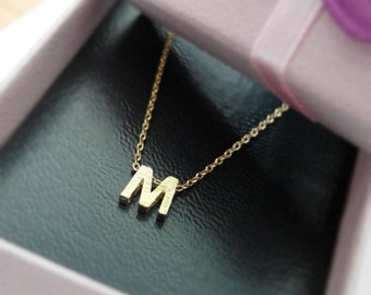 Tiny initial M necklace, personalized necklace, Satin brushed finish