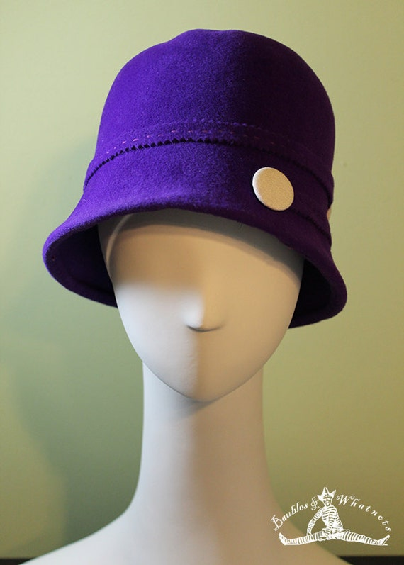 Purple Cloche Hat - Women's Cloche Hat - 1920s Hat - Purple Cloche Felt Hat - Deep Cloche Hat - OOAK