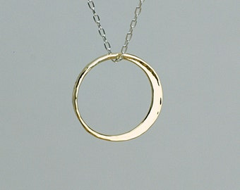 New Moon Pendant, Large Size Solid 18k Yellow Gold