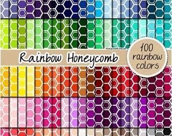 SALE 100 colored honeycomb digital paper rainbow hexagon digital paper queen bee clipart scrapbook bee pattern