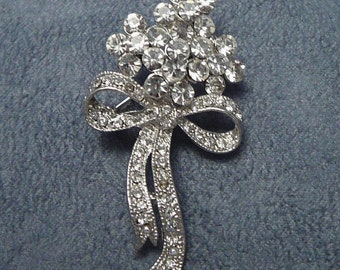 Rhinestone Nosegay Bouquet Brooch Pin Exceptionally Sparkly