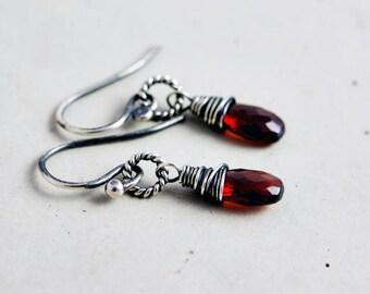 Garnet Drop Earrings, January Birthstone Jewelry, Red Crystal Jewelry