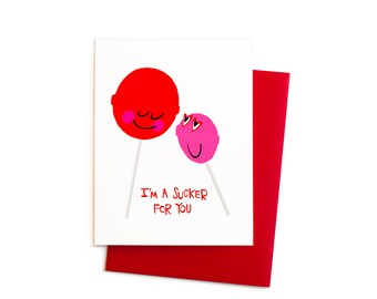Lollipop Sucker Valentine, I'm A Sucker for You Lollipop Love Greeting Card