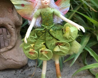"""Fae Folk® Fairies - FERN - Woodland Fairy. Bendable, posable 5"""" soft doll can sit, stand, or hang."""