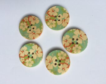 Set of five [5] wooden tropical floral buttons
