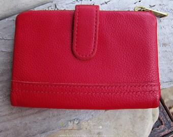 SALE Vintage Fossil Red Leather Wallet | Ladies Wallet | Foldover Wallet | Bright Red Leather | Ladies Wallet Under 50 | Designer Wallet