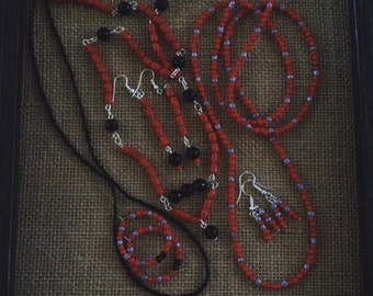 6 Peice Jewelry Necklace and Earring Set
