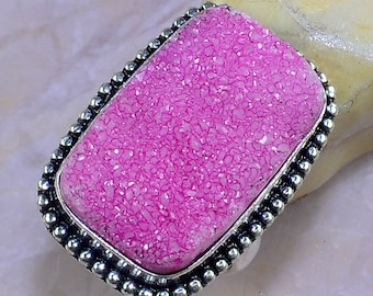 Pink Druzy (Drusy) Sterling Silver Ring Size 8