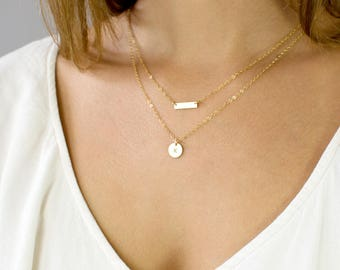Personalized Delicate Initial Necklace, Layering Necklace Set, Dainty Necklace Set of 2, Gold Bar Necklace Gift for Her, LEILAJewelryShop