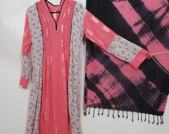 Ladies Long pink black casual 3 pc pakistani suit dress pants and shall size S-M