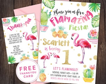 Flamingo invitation, Flamingo party, pool party, pool party invitation,fiesta birthday invitation,cactus flamingo invitation,flamingo fiesta