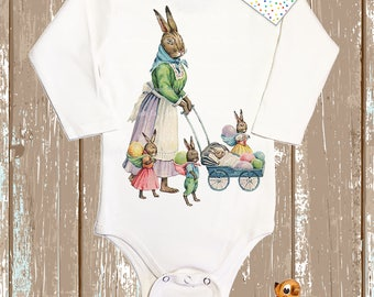 Easter Bunny with Kits and Eggs on Baby One Piece. Easter Bunny Mother with Baby Bunnies. Baby Easter Gift. Baby's First Easter Gift.