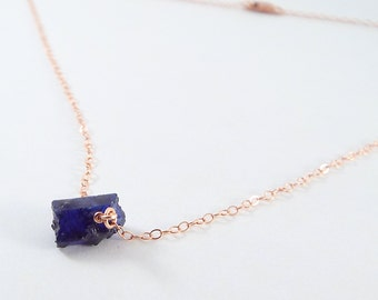 Raw Sapphire Captive Stone  Necklace (Rose Gold)