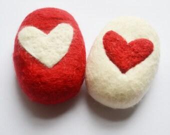 Felt soap, heart soap, red heart soap, soap with heart, heart soap, exfoliating soap, red and white soap, felted soap, felted heart soap