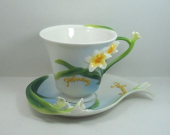 China tea cup February month with Flower decor