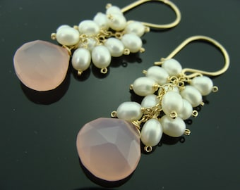 Pink Chalcedony and Freshwater Pearl 14K Gold Filled Cluster Earrings
