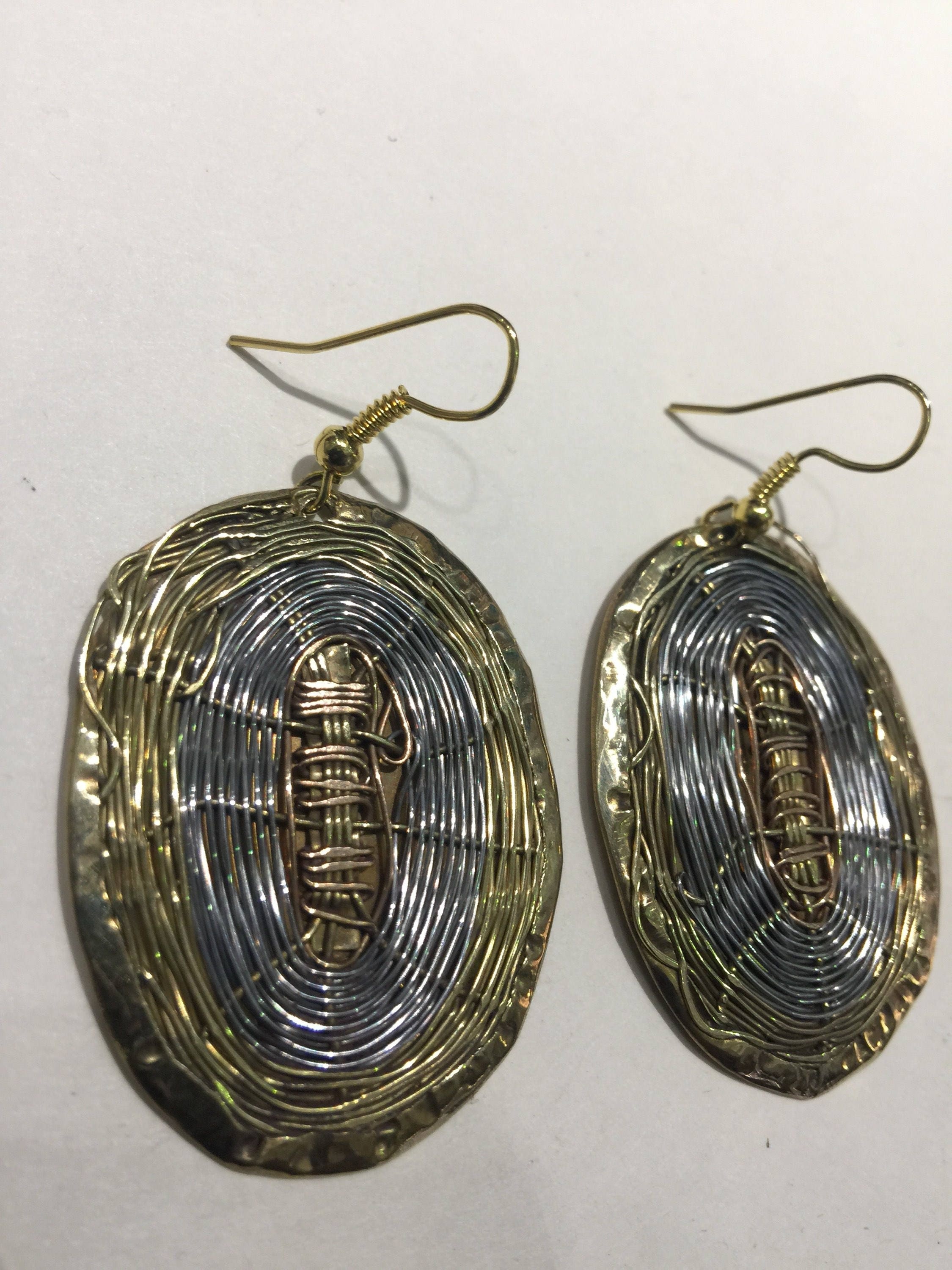 Beautiful Oval brass, nickel and copper wire earrings. Measure 2H x ...