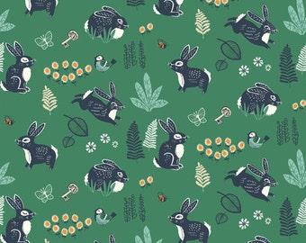 Hidden Garden Bunny Hop Green Organic Cotton Fabric, Green Bunny Fabric