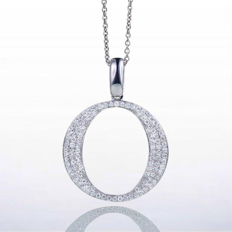 18 karat white gold diamond initial o pendant zoom aloadofball Choice Image